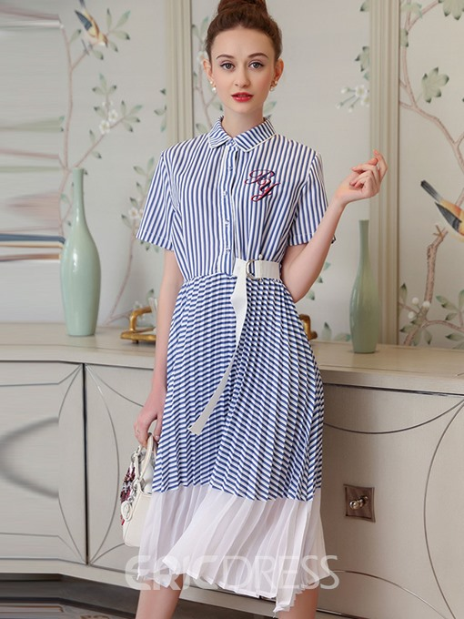 Ericdress Polo Neck Striped Embroidery Pleated A Line Dress