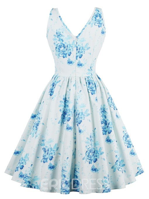 Ericdress V-Neck Floral Print Expansion A Line Dress