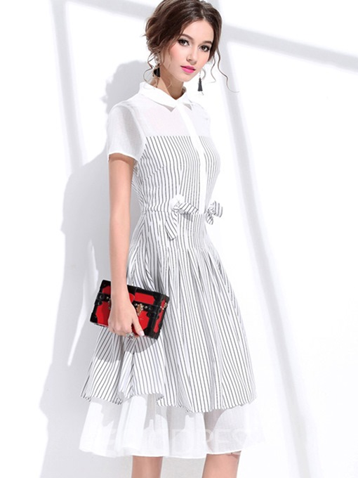 Ericdress Polo Neck Bowknot Striped A Line Dress