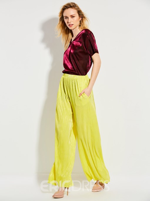Ericdress Elastics Wide Legs Pants