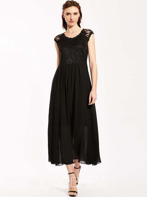 Round Neck Lace Patchwork Maxi Dress