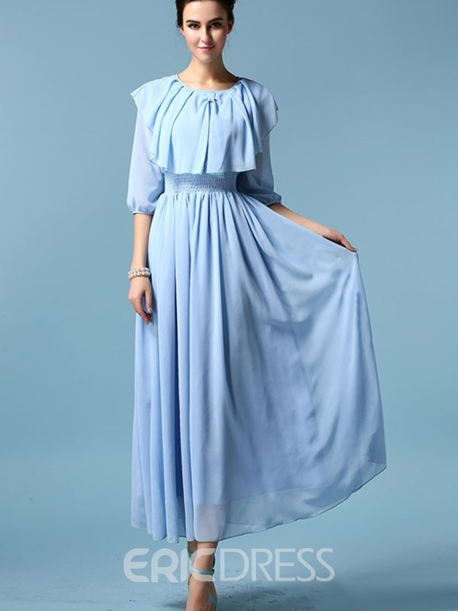 Ericdress Ruffled Collar Lantern Sleeve Expansion Maxi Dress