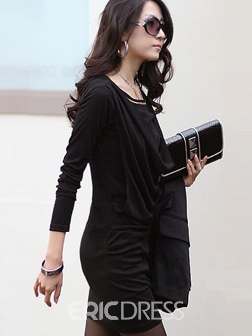 Ericdress Pleated Long Sleeve Casual Dress