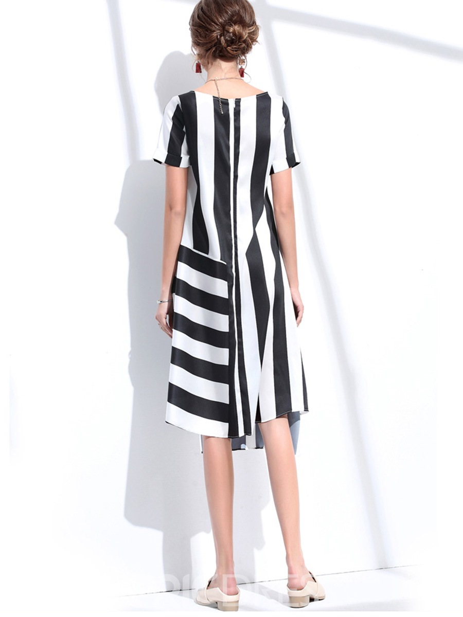 Ericdres Scoop Color Block Asymmetrical Striped A Line Dress