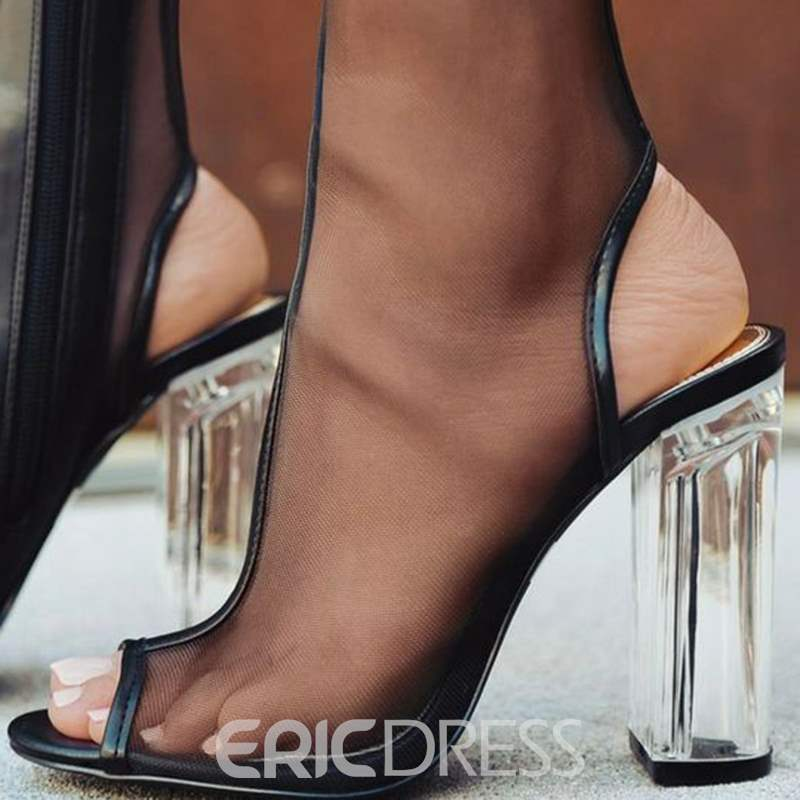 Ericdress Black Mesh Backless Peep Toe Fashion Booties