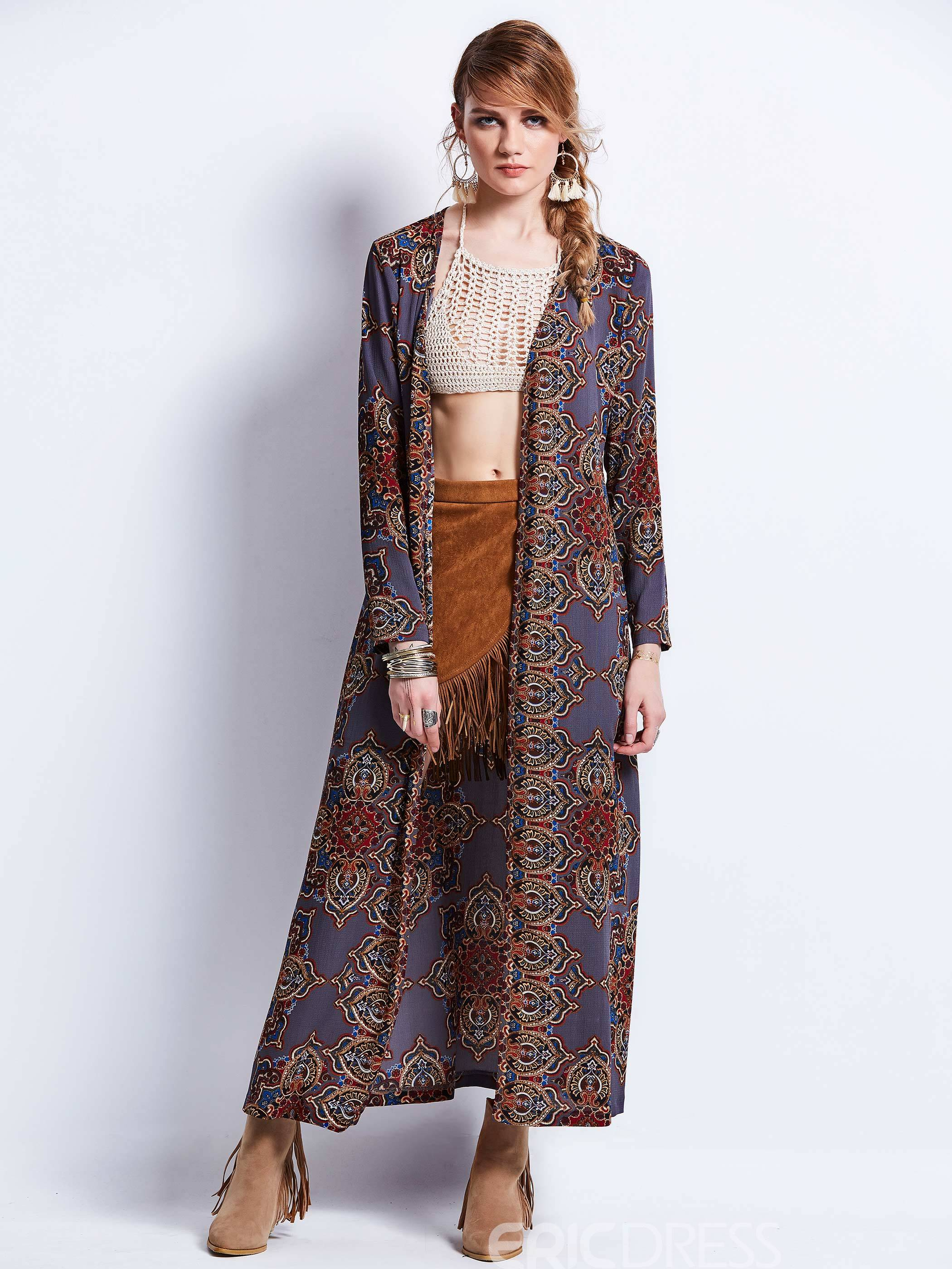 Ericdress V-Neck Geometric Pattern Trench Coat