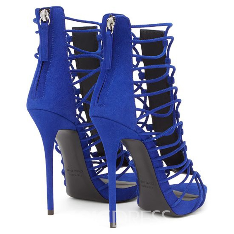 Ericdress Blue Cut Out Stiletto Sandals
