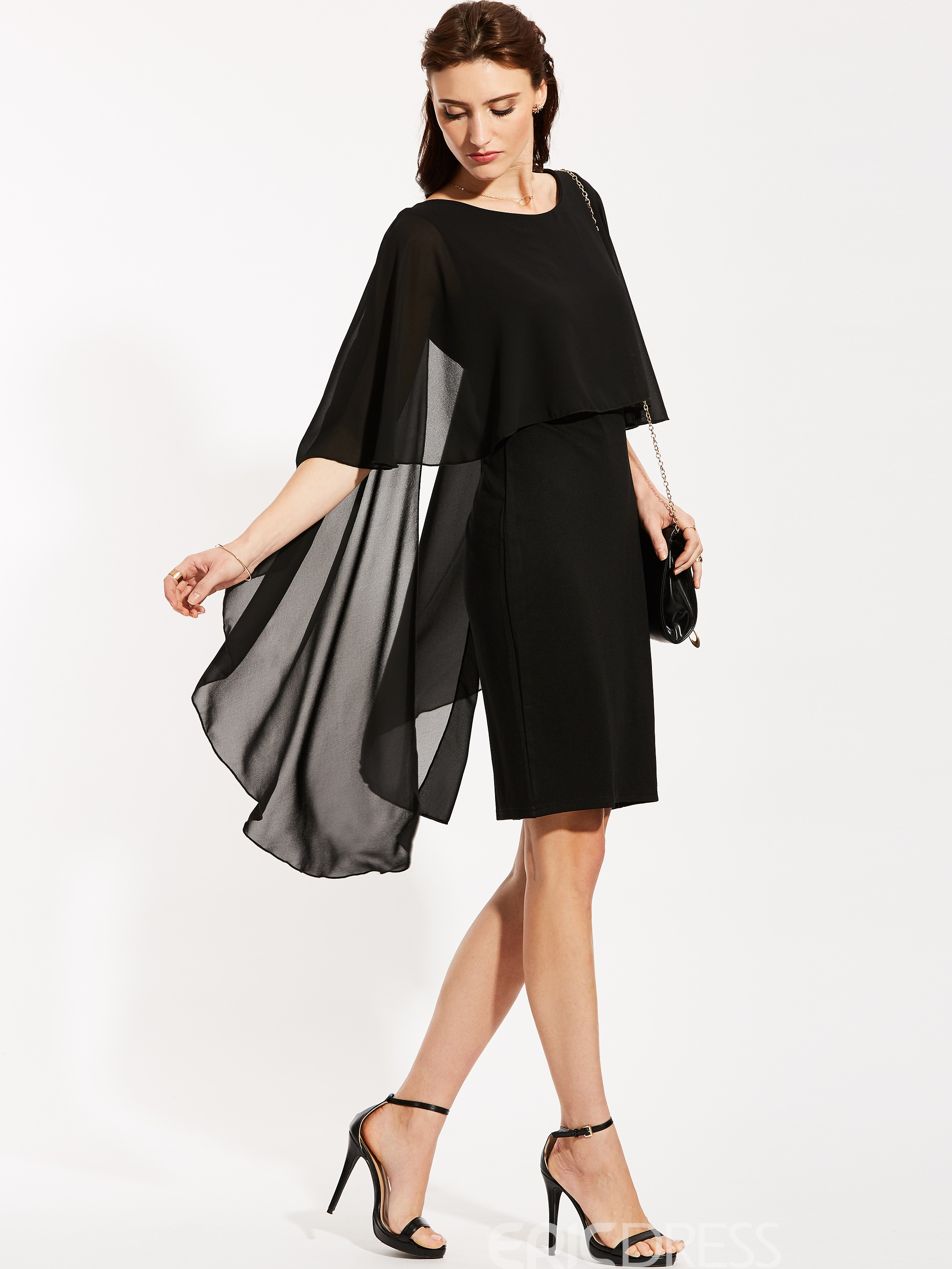 Ericdress Round Neck Batwing Sleeve Bodycon Dress
