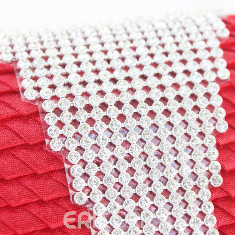 Ericdress Color Block Wrinkle Rhinestone Evening Clutch