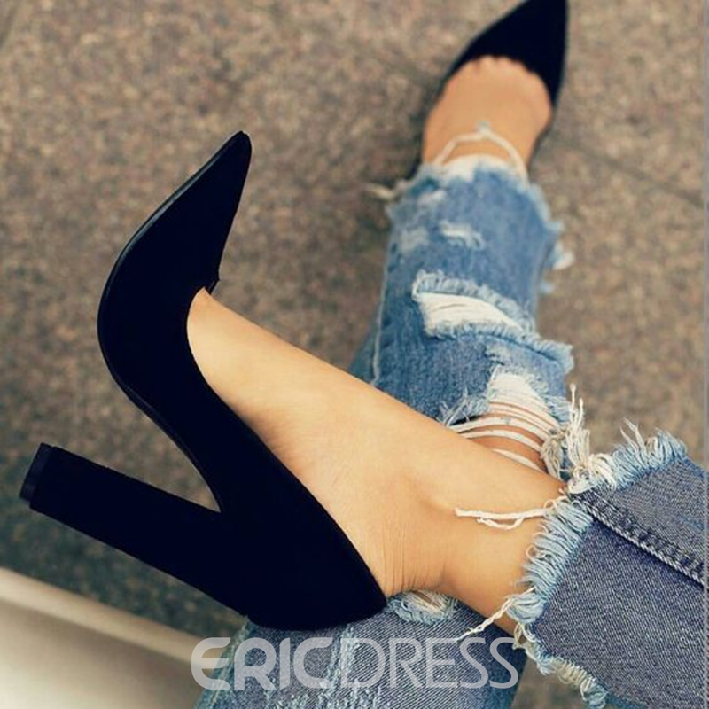 Ericdress Black Pointed Toe Chunky Heel Pumps