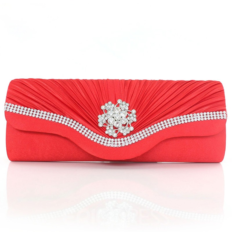 Ericdress Ladylike Rhinestone Lily Wrinkle Decorated Evening Clutch