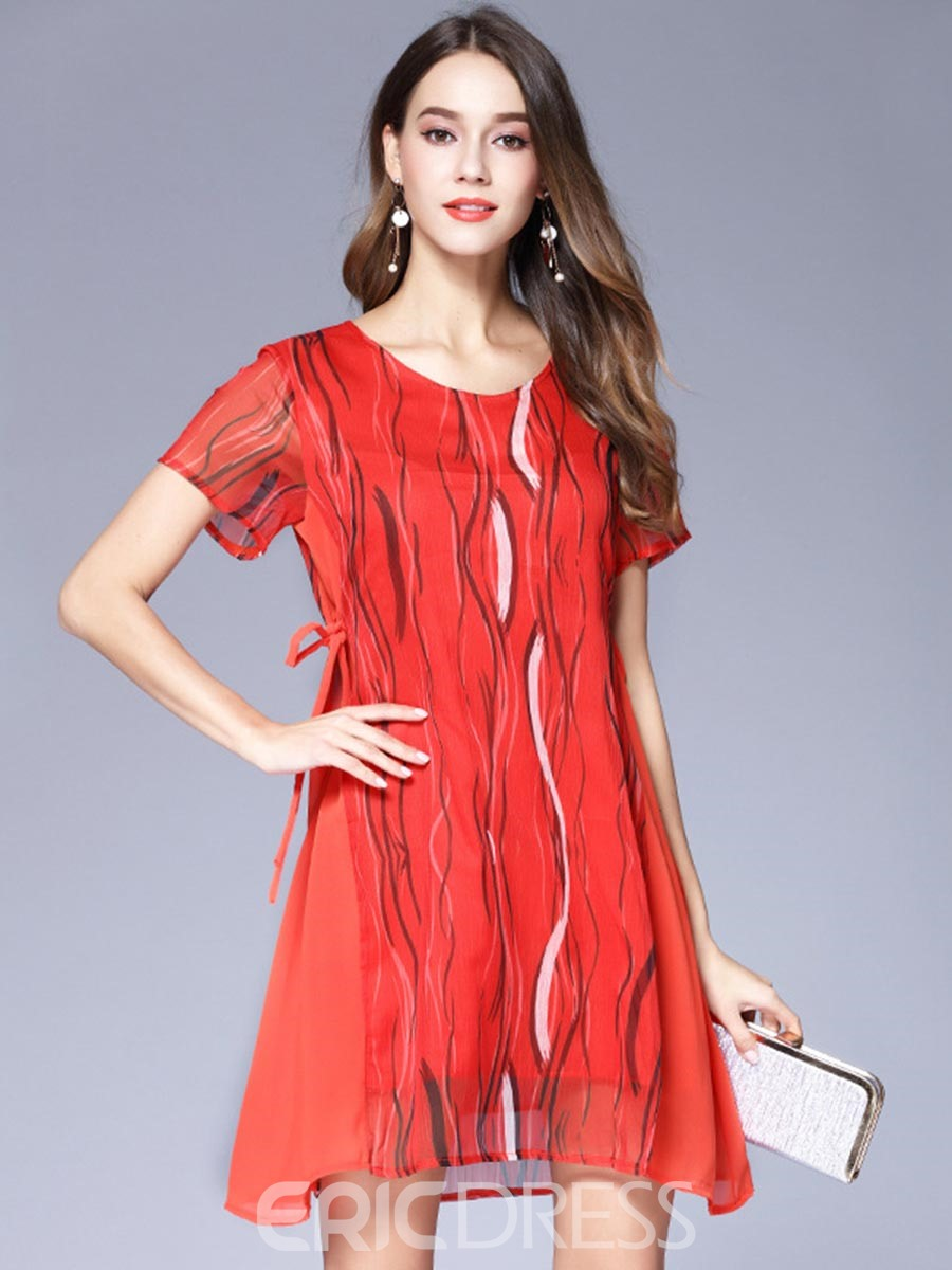 Ericdress Simple Print Side-Drawstring Chiffon Casual Dress