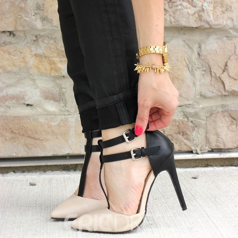 c356e4df7b197 Ericdress Pointed Toe T Strap Stiletto Heels 12805831 - Ericdress.com