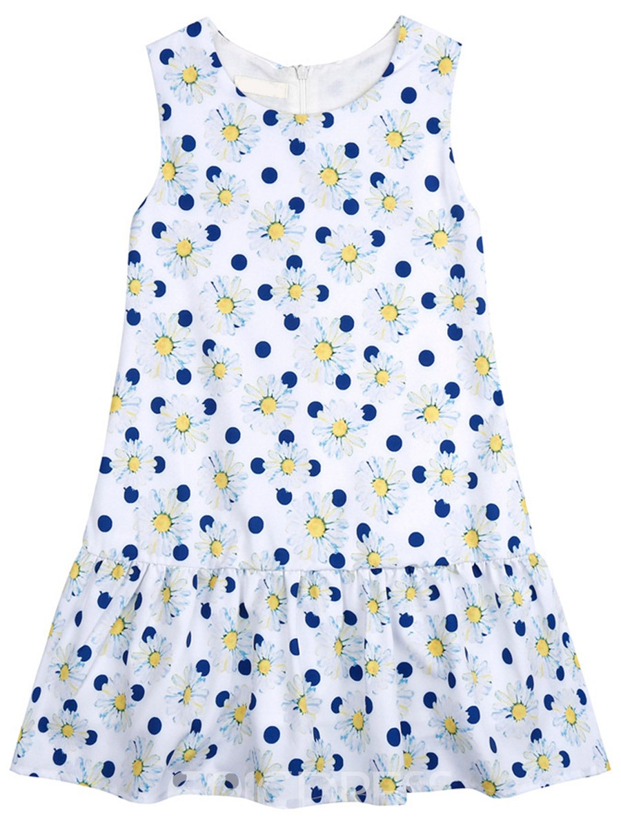 Ericdress Summe Sleeveless Floral Polka Dots Girls Dress