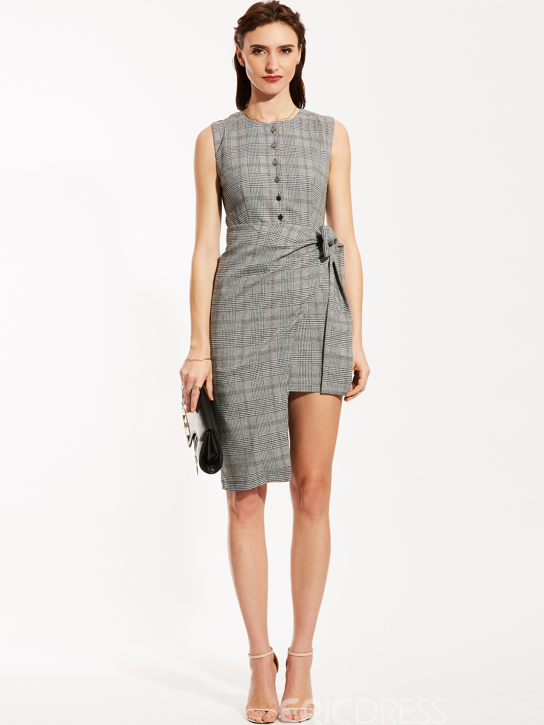 Ericdress Single-Breasted Plaid Asymmetric Bodycon Dress