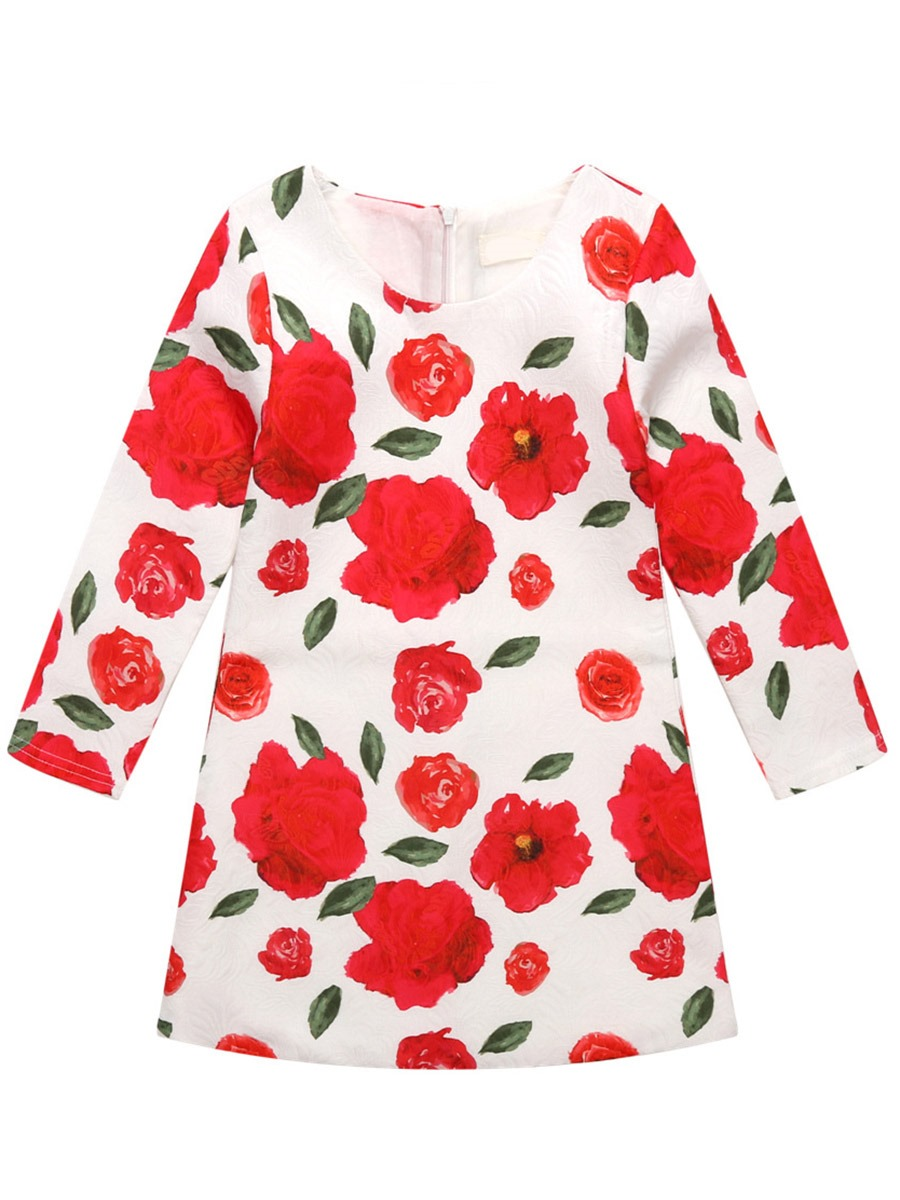 Ericdress Floral Printed Long Sleeve A-Line Girls Dress