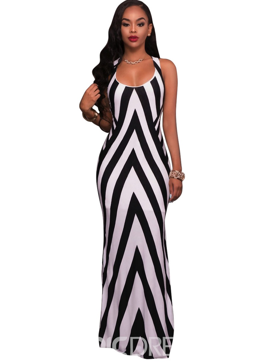 Ericdress Stripe Side-Split Lea Seydoux Maxi Dress