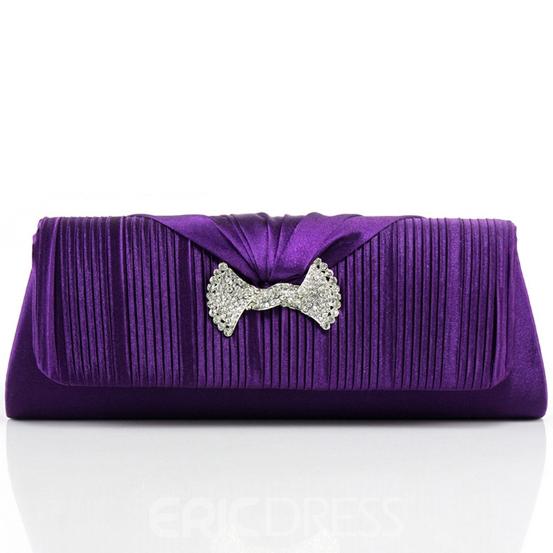 Ericdress Wrinkle Rhinestone Satin Evening Clutch