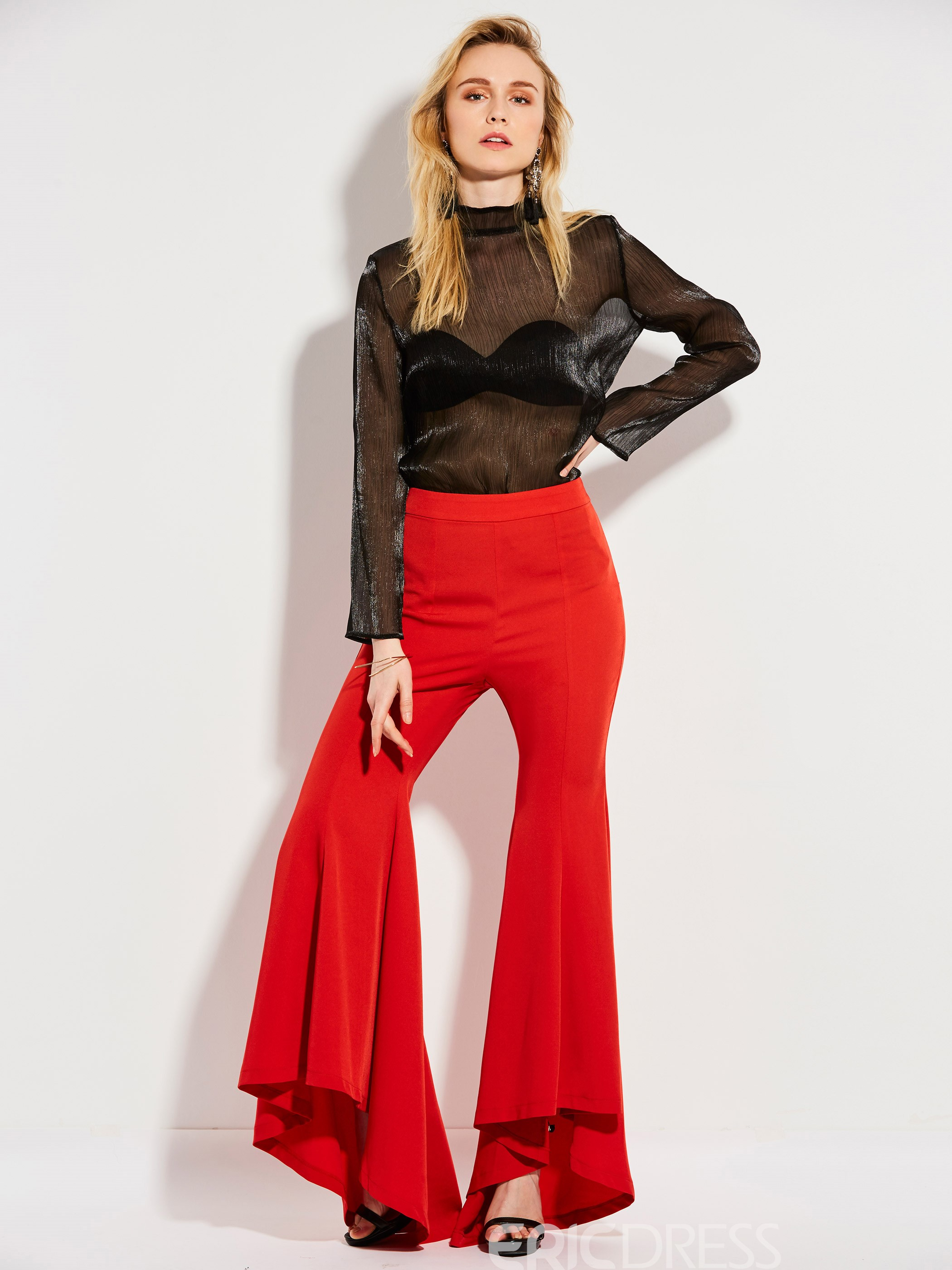High Waisted Pure Color Bellbottoms Pants