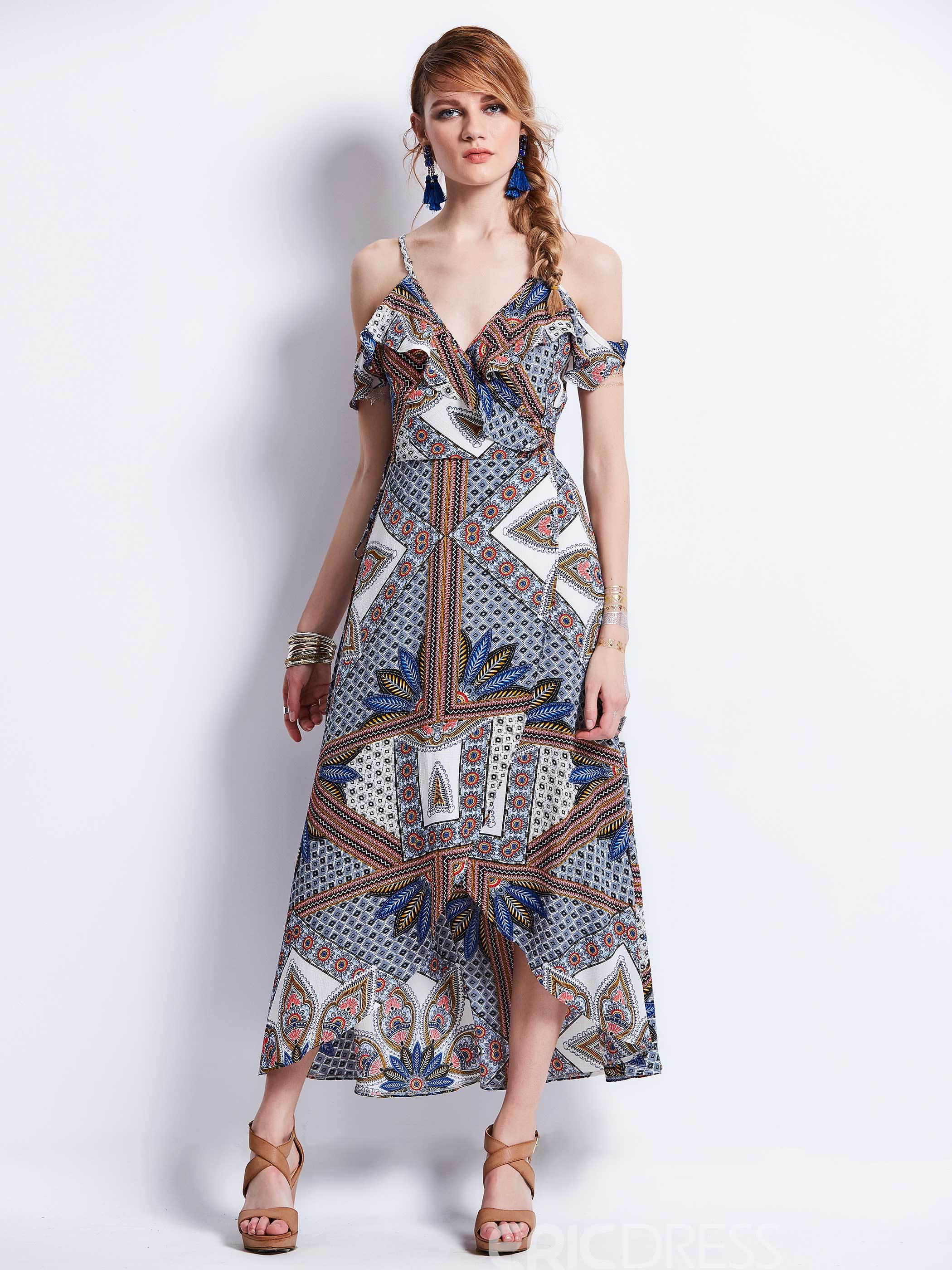 Ericdress Spaghetti Strap Geometric Hollow Maxi Dress