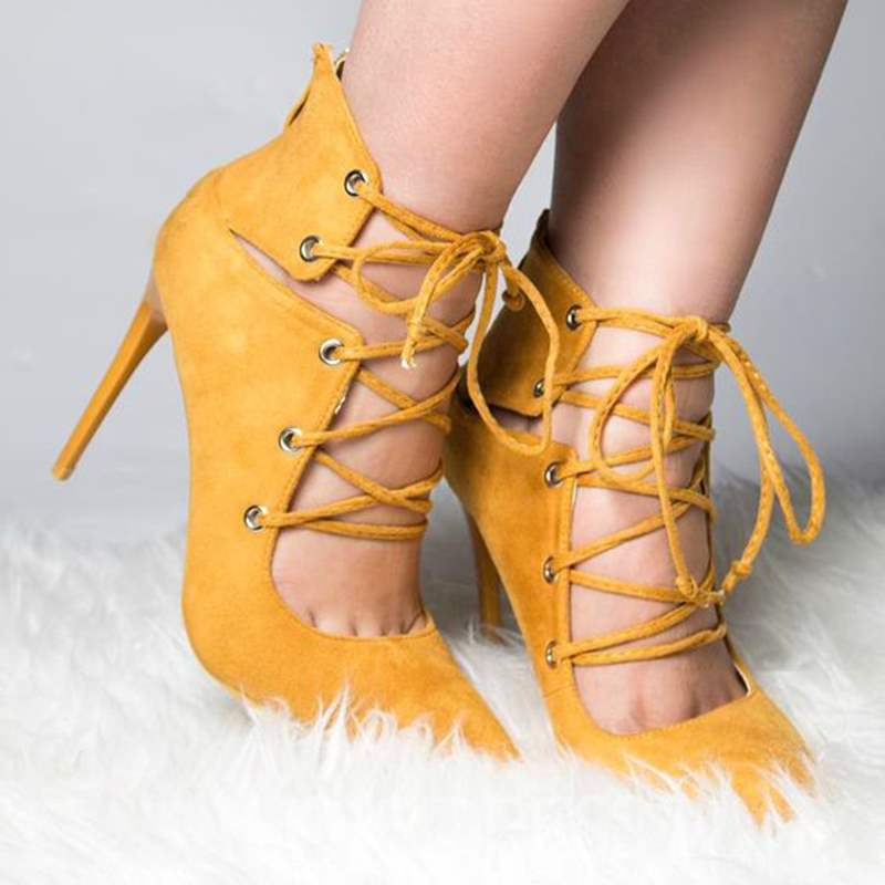 Ericdress Yellow Lace Up Stiletto Heels