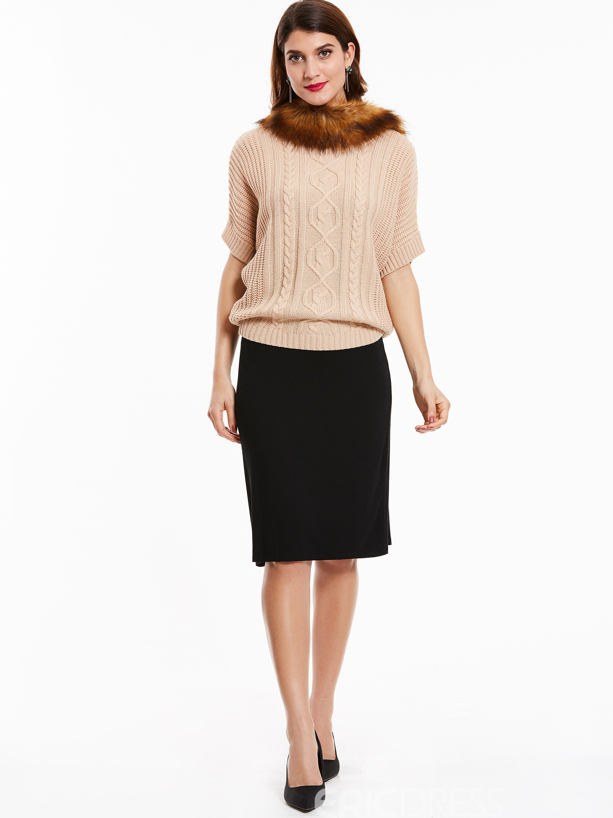Ericdress Fur Collar Twist Pattern Knitwear