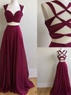 Ericdress A Line Two Pieces Pleats Prom Dress With Cris-Cross Back
