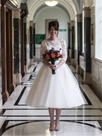 Ericdress Lace Tulle Bateau Tea Length Wedding Dress with Sleeves