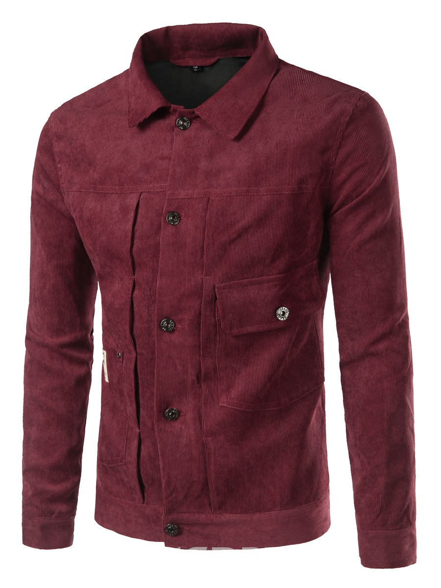 Ericdress Plain Single-breasted Pocket Casual Mens Jacket