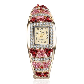 Ericdress Square Diamante Flower Quartz Wristwatch for Women