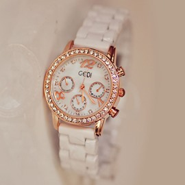 Ericdress Exquisite Diamante Rose Gold Ceramic Women's Watch