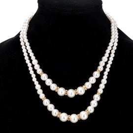 Ericdress Diamante Double Layer Imitation Pearl Women's Necklace