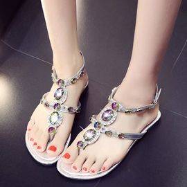 Ericdress Pretty Colorful Crystal Thong Flat Sandals