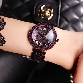 Ericdress Luxurious Full Rhinestone Purple Women's Watch