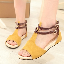 Ericdress Suede T Strap Peep Toe Flat Sandals