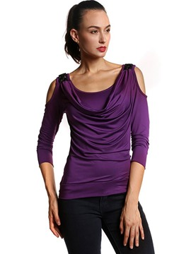 Ericdress Cold Shoulder Pleated T-Shirt