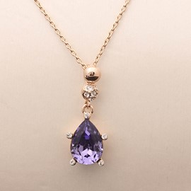 Ericdress Retro Ultra Violet Pear Rhinestone Pendant Necklace for Women