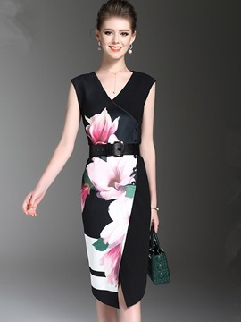 Ericdress Asymmetric Lotus Printing with Belt Sheath Dress