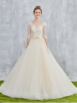 Ericdress V-Neck Beading Lace Wedding Bridal Dress with Sleeves