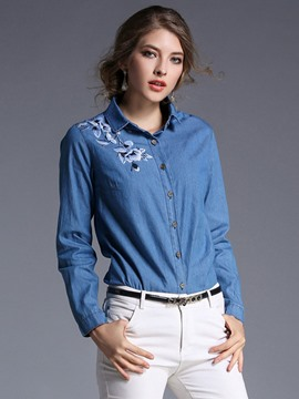 Ericdress Floral Embroidery Denim Blouse