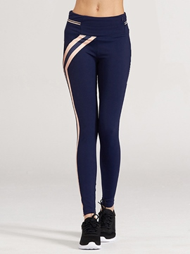 Ericdress Mid-Waist Elastic Striped Leggings Pants