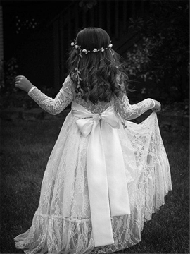 Ericdress High Quality Lace Long Sleeves Empire Flower Girl Dress