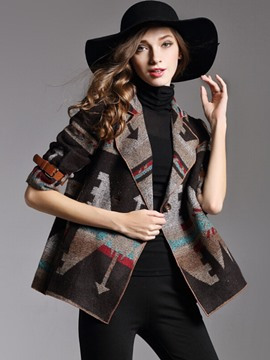 Ericdress Double-Breasted Lapel Patchwork Coat