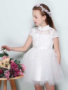Ericdress High Neck Short Sleeves Mini Flower Girl Dress