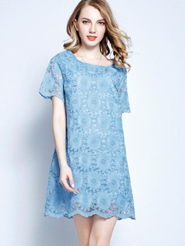 Ericdress Plain Hook Flower Short Sleeve Lace Dress