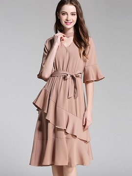 Ericdress Plain Falbala-Trim Vogue Stand Collar Lace-Up A Line Dress