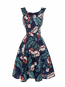Ericdress Vintage Print Sleeveless A Line Dress