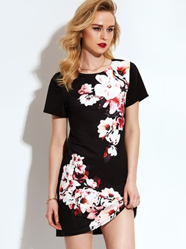 Ericdress Flower Print Crew- Neck Short Sleeve Casual Dress