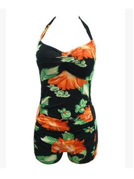 Ericdress Delicate Flower Print Halter One-Piece Swimwear