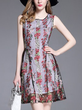 Ericdress Gorgeous Embroidery Mesh Sleeveless A Line Dress